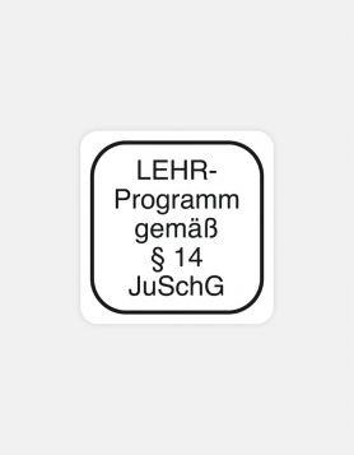"Etikett Standard ""LEHR-Programm gemäß §14 JuSchG"""