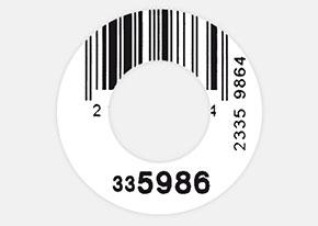 Druckbeispiel Barcode-Etikett 32 mm rund